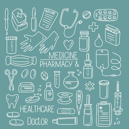 Hand drawn doodle set vector illustration pharmacology, medicine, chemistry lab isolated on green background. Best for wallpaper, wrapping, textile, packaging, medical design, banner