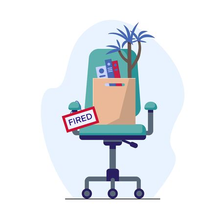 Business chair and box with office things and plant. Fired from job. Flat style vector illustration. Design job loss concept. Template for website landing page Vecteurs