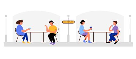 Vector flat illustration men and women in reopening cafe. Social distancing, keep distance in coffee cafe after pandemic covid-19 corona virus. Concepts of a new norm. Design for banner, landing page Vettoriali