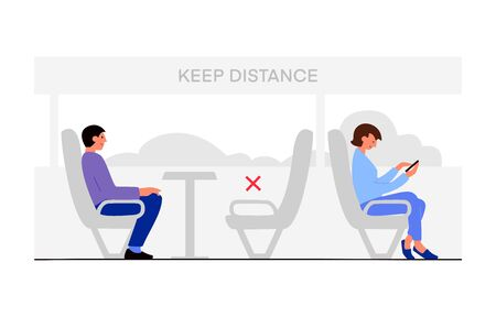 Vector flat illustration man and woman using transportation, train, bus. Keep distance after pandemic corona virus. New normal, social distancing concept. Design for banner, landing page
