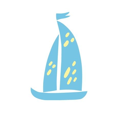 Hand drawn colorful sailboat isolated on white background. Sea travel cruise, boat and ship, yacht transport, sailboat. Vector flat illustration of boats. Design for logo, print, card, scrapbooking