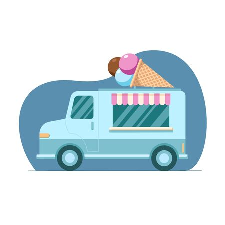 Hand drawn colorful Ice truck, mobile shop on blue background. Illustration in flat style. Design for banner, card, cafe, menu
