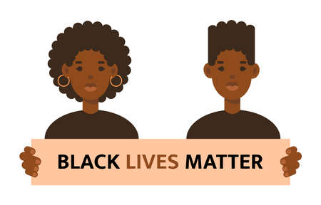 Black lives matter quote. Stop racism. Woman and man isolated on white background. No racism concept. Afro american activists against racism. Vector flat style illustration best for banner, template  イラスト・ベクター素材