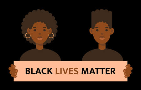 Black lives matter quote. Stop racism. Woman and man isolated on black background. No racism concept. Afro american activists against racism. Vector flat style illustration best for banner, template