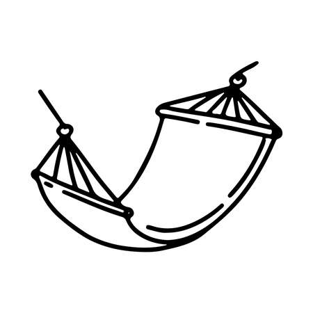 Vector hand drawn doodle outline illustration swing bed hammock isolated on white background. Sketch for coloring booking page, card, logo, banner, tattoo.
