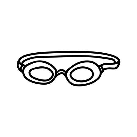 Swimming goggles vector doodle sketch illustration isolated on white background. Decoration for greeting cards, posters, emblems, wallpaper Illustration