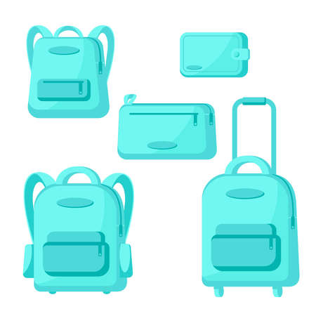 Set of travel bags, suitcase, backpacks, clutch isolated on white background. Vector icons in flat style illustration. Voyage baggage design for banner, sale, store, shop Vettoriali
