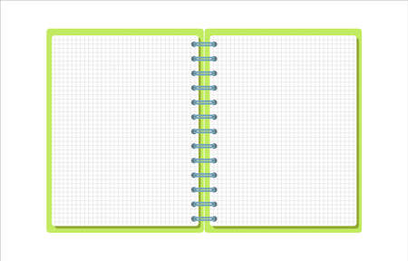 Template with spiral notepad and paper sheets isolated on white background with place for text. Diary for business, school vector background with open notebook. Office stationery items. Copy space Vettoriali