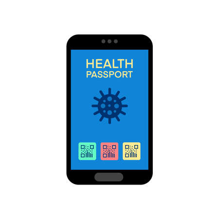 Electronic health passport of immunity on the screen of a mobile phone isolated on white background. Passport for travel after the Covid19 pandemic. Vector illustration in flat style.