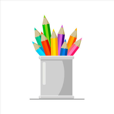 Colorful pencils in holder basket, drawing equipment in a gray office organizer metal box. Minimal flat style vector illustration. Design for template, web, app, branding, advertising, card, school