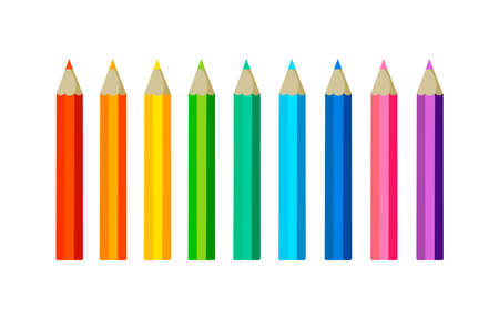 Collection of colored pencilswith copy space isolated on white background. Vector illustration on flat cartoon style. Design for template, web, app, branding, advertising, card, school
