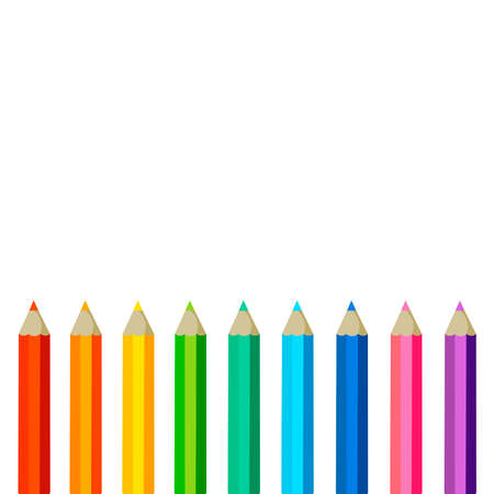 Collection of colored pencils with copy space isolated on white background. Vector illustration on flat cartoon style. Design for template, web, app, branding, advertising, card, school