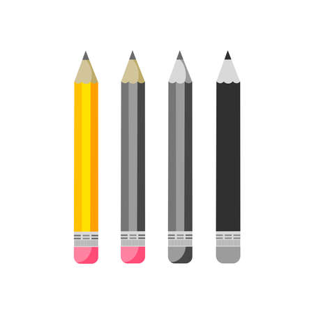 Set of school pencils with rubber isolated on white background. Vector illustration on flat cartoon style. Design for template, web, app, branding, advertising, card, school