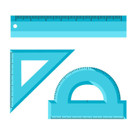 Set of measuring scale tools ruler, triangle, protractor school instruments isolated on white background. Vector flat illustration. Metric system of measurements. Instrument ruler for measure