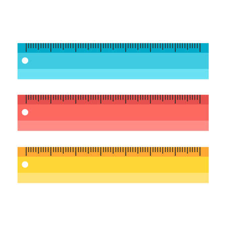 Set of colorful measuring scale tools rulers school instruments isolated on white background. Vector flat illustration. Metric system of measurements. Instrument ruler for measure