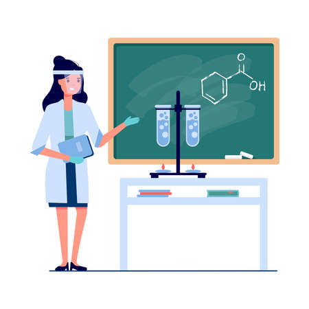 Vector young female teacher at chemistry on school lesson at blackboard in classroom isolated on white background. Teacher point formulas, test tube and liquid. Scientific experiment in the laboratory Stock Illustratie