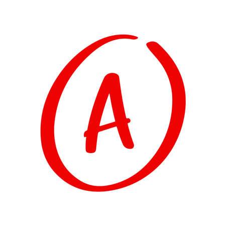 Hand drawn sketch of red grade A note and result isolated on white background. Test exam mark report. Vetores
