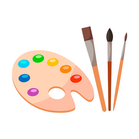 Painting tools elements cartoon colorful vector set isolated on white background. Art supplies, brushes, watercolor, wooden palette. Design creative materials for workshops banner, card