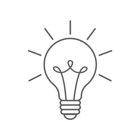 Light bulb with rays shine. Energy and idea symbol isolated on white background. Vector doodle lineart illustration. Design for greeting cards, patches, prints, badges, posters