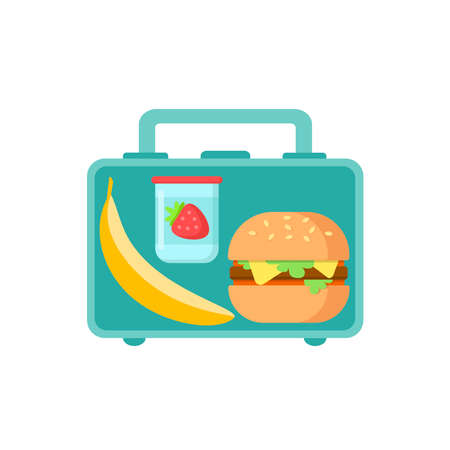 Lunch Box with school snack food banana, tasty sandwich and yogurt with strawberry isolated on white background. Colored healthy meals storage. Vector flat illustration Illustration