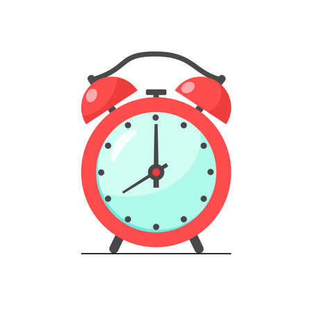 Alarm red clock wake-up time morning isolated on white background. Vector illustration in flat style. Wake up symbol. Design for card, banner, pattern