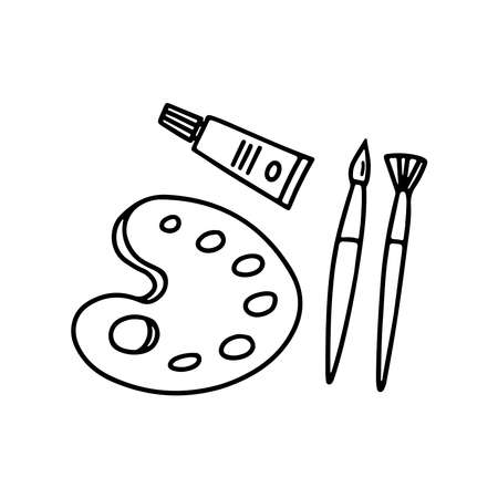 Hand drawn icon of difference brushes, palette, tube of paint isolated on white. Vector in doodle style illustration. Simple design for web site or mobile app, card, banner, coloring books, page