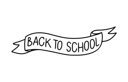 Back to school quote lettering handwritten on ribbon isolated on white background. Hand drawn outline black phrase education concept. Design for print, mug, backdrop, flyer, notebook, card Vettoriali