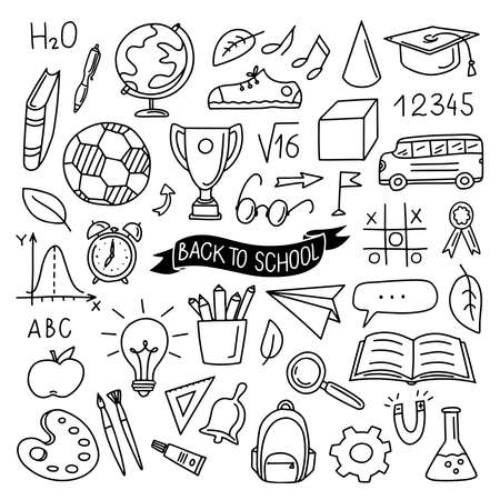 Hand drawn Back to school lettering on ribbon and set background with school supplies. Vector illustration with stationery for graphic design, web banner and printed materials. Vettoriali