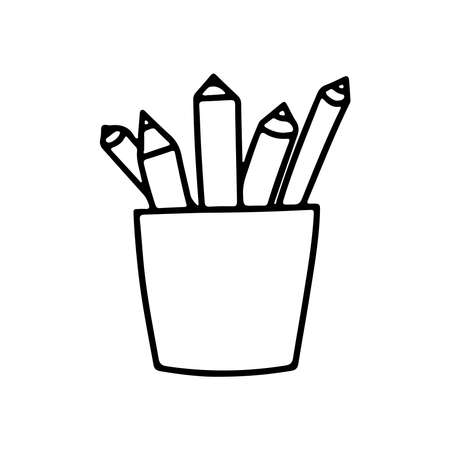 Hand drawn icon of difference pencils in box isolated on white background. Vector in doodle style illustration. Simple design for web site or mobile app, card, banner, coloring books, page Vettoriali