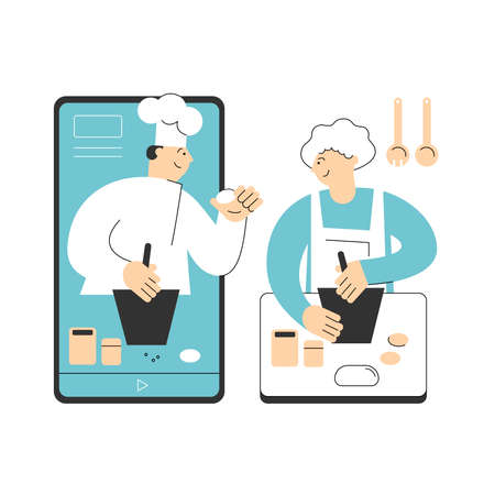 Man chef teaches cooking bakery product. Woman watches a video recipe on the phone and prepares food at home in the kitchen. Concept of online recipes, home cooking. Vector flat illustration Vettoriali