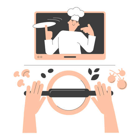 Man chef teaches cooking pizza. Woman watches a video recipe on the laptop and prepares food at home in the kitchen. Concept of online recipes, home cooking. Vector flat illustration