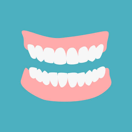 Denture icon gums with teeth or dentures isolated on green background. Dental prostheses, tooth orthopedics sign, teeth image, icon dental. Vector flat cartoon illustration.