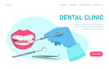 Landing page template dental clinic. Dentist hold dental mirror in hand and examining patient's tooth. Dental healthcare. Stomatology concept. Vector illustration flat design. Vettoriali