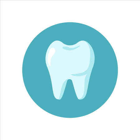 Clean white teeth icon isolated on blue circle background. Dental care concept. Design for dental, dentist or stomatology clinic. Vector flat illustration
