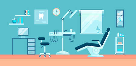 Dental room interior with dentist chair, lamp and drilling machine vector illustration. Clinic with modern medical instrument for teeth treatment. Dental office concept. Design for banner, poster.