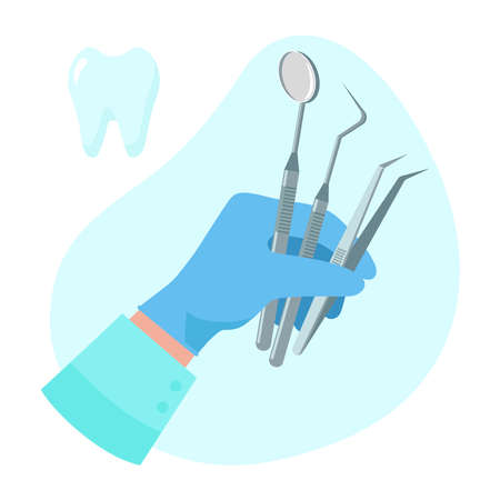Dentist hold instruments in hand for examining patient's tooth isolated on blue background. Vector illustration flat design. Dental concept. Design for banner, card, advertising, promotion clinic