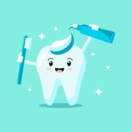 Cute cartoon tooth with toothbrush and toothpaste smiles and shines isolated on green background. Vector flat illustration. Dental concept. Design for banner, card, advertising, promotion clinic Vettoriali
