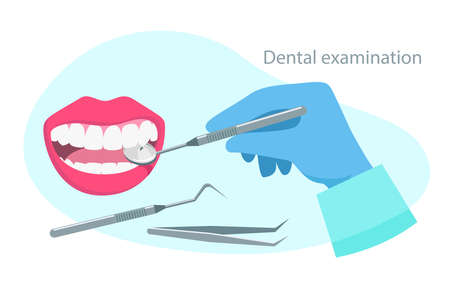 Dental examination quote. Stomatology concept. Dental healthcare. Dentist hold instruments in hands and examining patient's tooth with dental mirror. Vector illustration flat design.