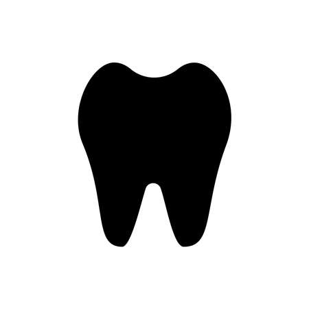 Tooth silhouette dental icon isolated on white background. Dental, medicine and health concept design. Vector flat illustration. Dentistry symbol, care, dentist icon, medical sign for logo, card