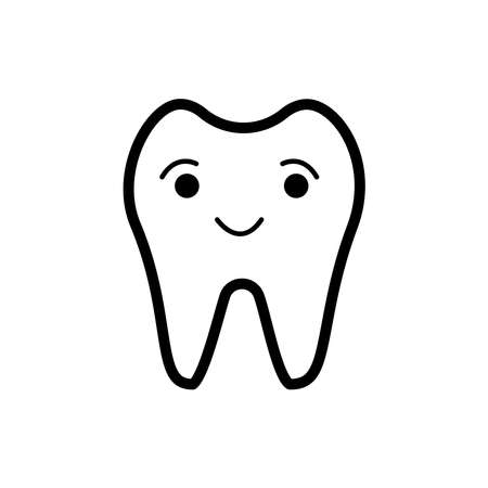 Hand drawn doodle smiling tooth isolated on white background. Design for dental clinic, print on card, kid book, sticker, poster, brochure, banner