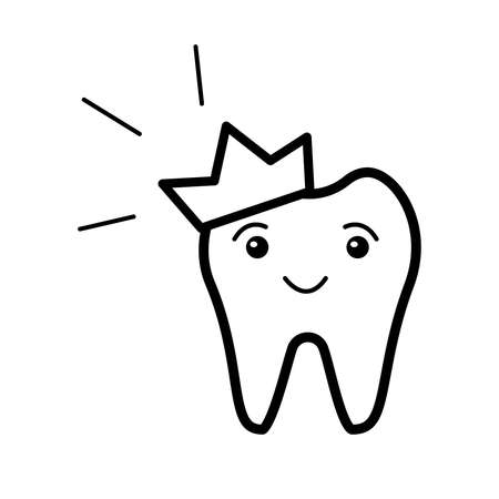 Hand drawn doodle smiling crown tooth isolated on white background. Design for dental clinic, print on card, kid book, sticker, poster, brochure, banner Vettoriali