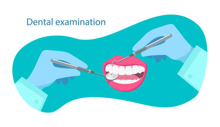 Dental examination quote. Dentist hold dental instrumen in hand and examining patient's tooth. Dental healthcare. Stomatology clinic concept. Vector flat illustration. Design for banner, card, flyer