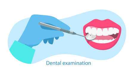 Dental examination quote. Dentist hold dental mirror in hand and examining patient's tooth. Dental healthcare. Stomatology concept. Vector illustration flat design. Design for banner, card, clinic