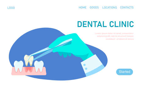 Landing page template dental clinic. Dental treatment. Dentist hold dental instrument in hand and examining patient's tooth. Dental healthcare. Stomatology concept. Vector illustration flat design. Vettoriali
