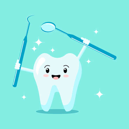 Cute healthy shiny cartoon tooth character holding instruments examining teeth. Examination child dentistry concept. Vector flat Illustration.Design for banner, card, advertising, promotion clinic