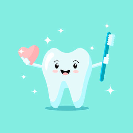 Cute cartoon tooth with toothbrush and heart smiles and shines isolated on green background. Vector flat illustration. Dental concept. Design for banner, card, advertising, promotion clinic