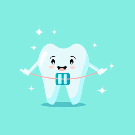 Cute cartoon tooth with brace smiles and shines isolated on green background. Vector flat illustration. Dental concept. Design for banner, card, advertising, promotion clinic