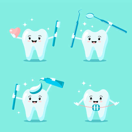 Set of cute cartoon teeth with toothbrush, instrument, toothpaste, brace, heart smiling and shining. Vector flat illustration. Dental concept. Design for banner, card, advertising, promotion clinic