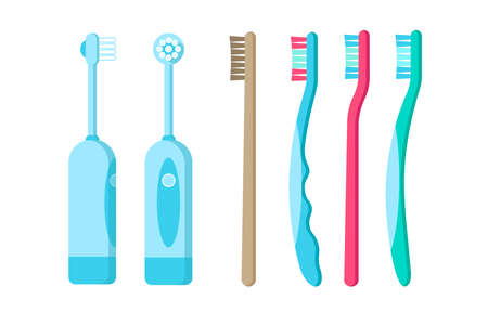 Colorful plastic, bamboo, electric toothbrushes icon isolated on white background. Vector flat illustration for web design.