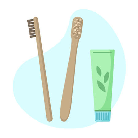 Set of eco-friendly bamboo toothbrushes and toothpaste isolated on white. Natural organic bathroom beauty product. Zero waste and eco living, plastic free concept.Vector flat illustration.